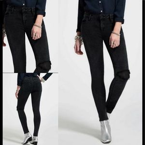 DL1961 FLORENCE IN ORACLE JEANS LEATHER KNEE PATCH